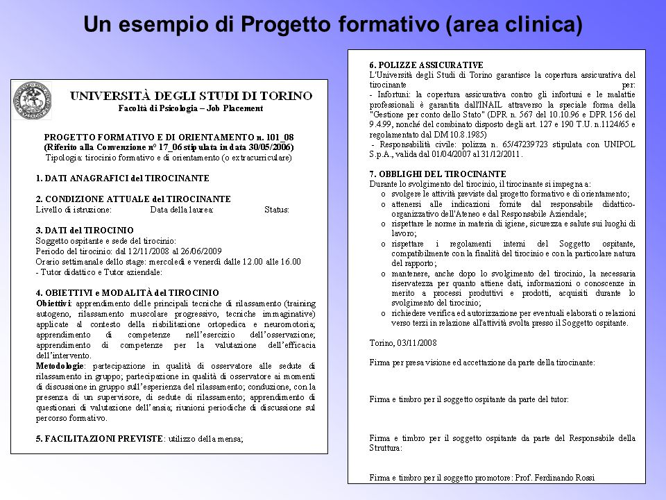Un esempio di Progetto formativo (area clinica)
