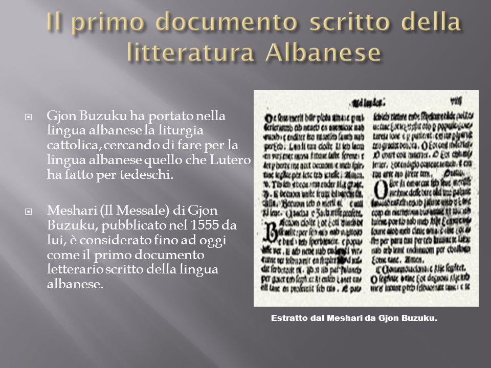 Il primo documento scritto della litteratura Albanese