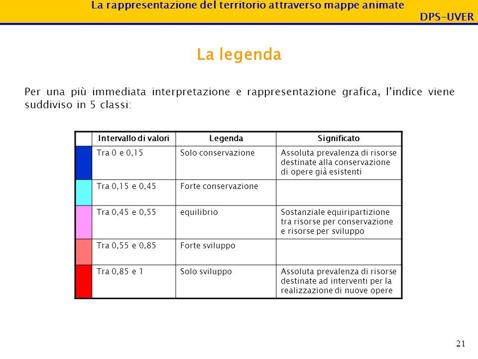 La legenda Per una più immediata interpretazione e rappresentazione grafica, l'indice viene suddiviso in 5 classi: