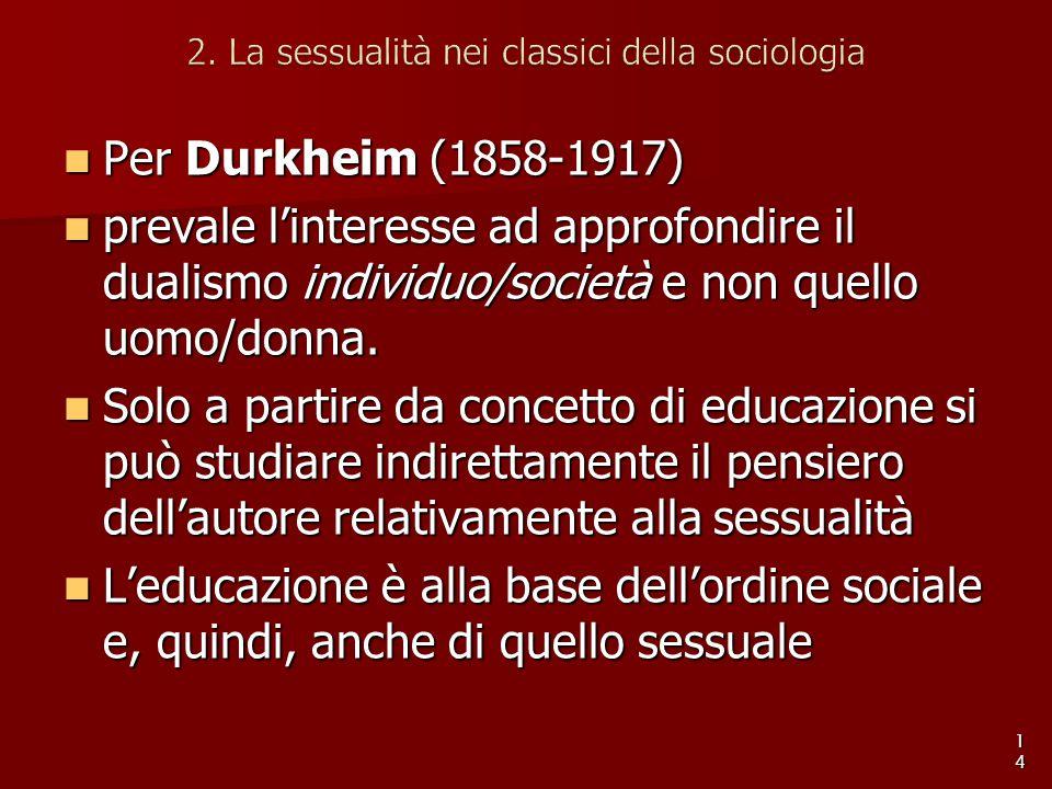 2. La sessualità nei classici della sociologia