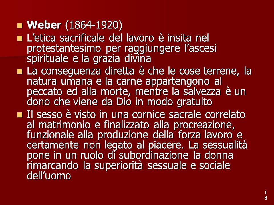 Weber (1864-1920) L'etica sacrificale del lavoro è insita nel protestantesimo per raggiungere l'ascesi spirituale e la grazia divina.