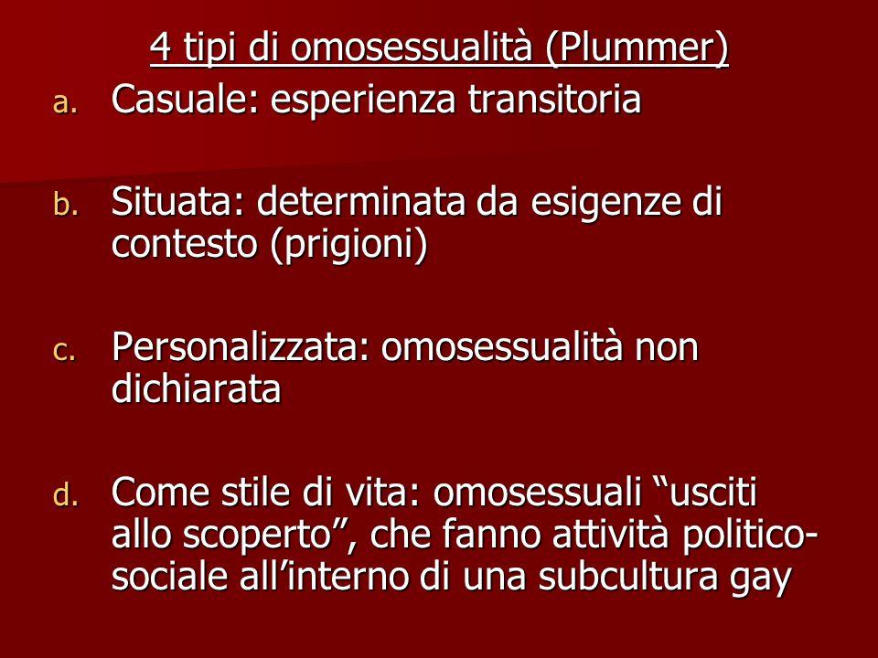 4 tipi di omosessualità (Plummer)