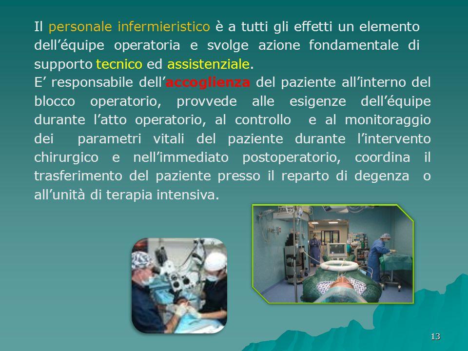 Il personale infermieristico è a tutti gli effetti un elemento dell'équipe operatoria e svolge azione fondamentale di supporto tecnico ed assistenziale.