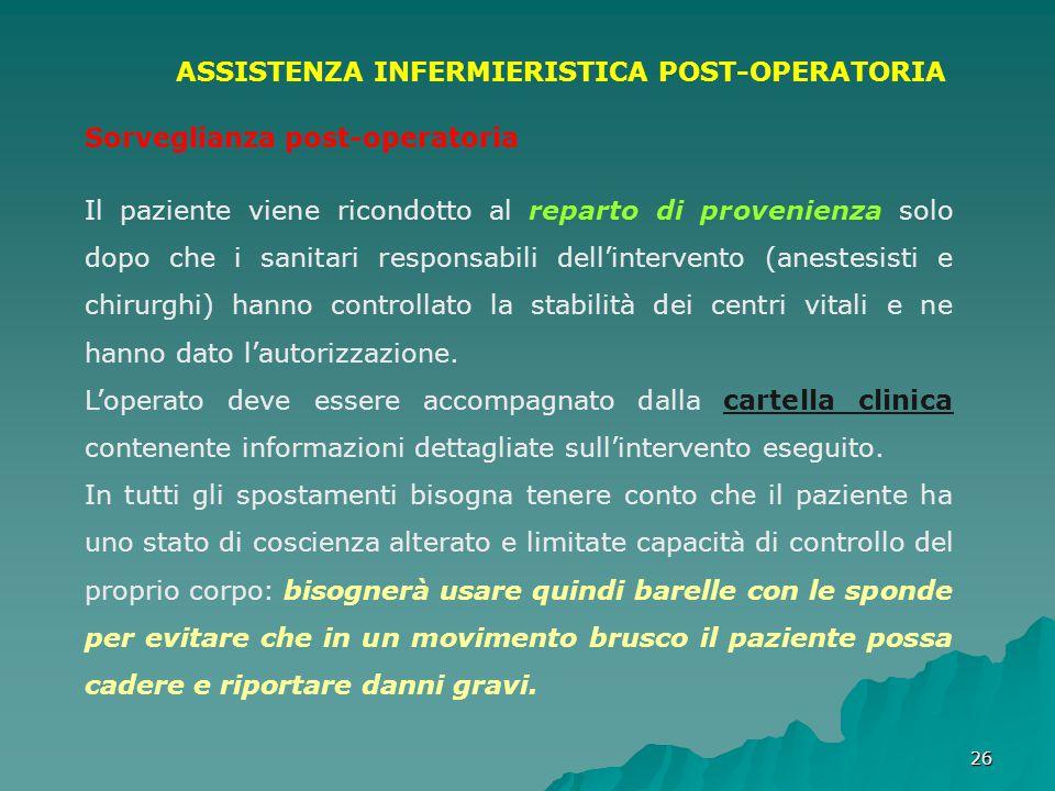 ASSISTENZA INFERMIERISTICA POST-OPERATORIA