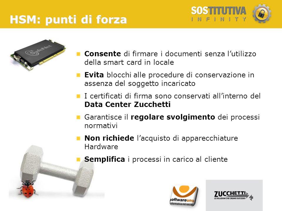 HSM: punti di forza Consente di firmare i documenti senza l'utilizzo della smart card in locale.