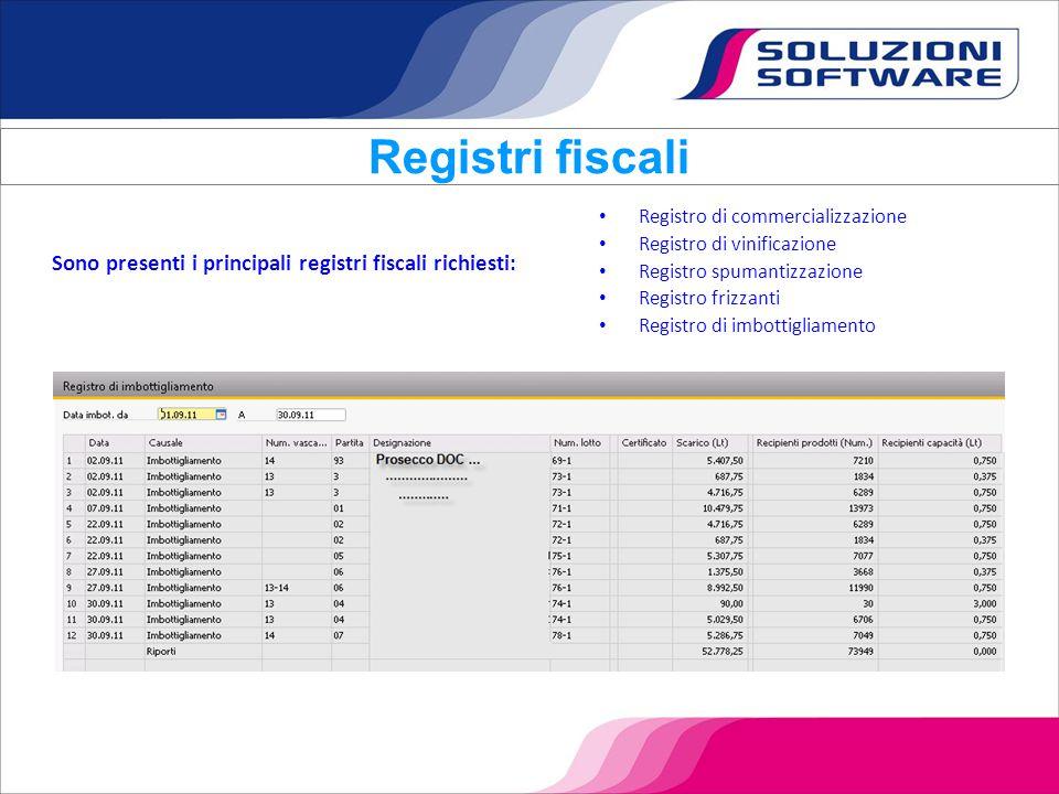 Registri fiscali Registro di commercializzazione. Registro di vinificazione. Registro spumantizzazione.