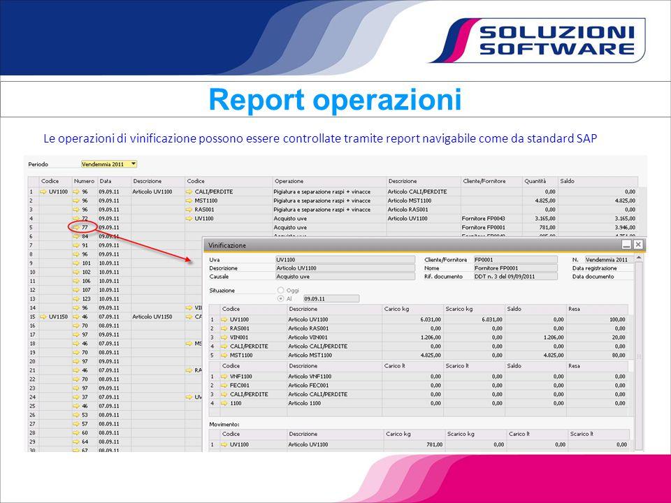 Report operazioni Le operazioni di vinificazione possono essere controllate tramite report navigabile come da standard SAP.