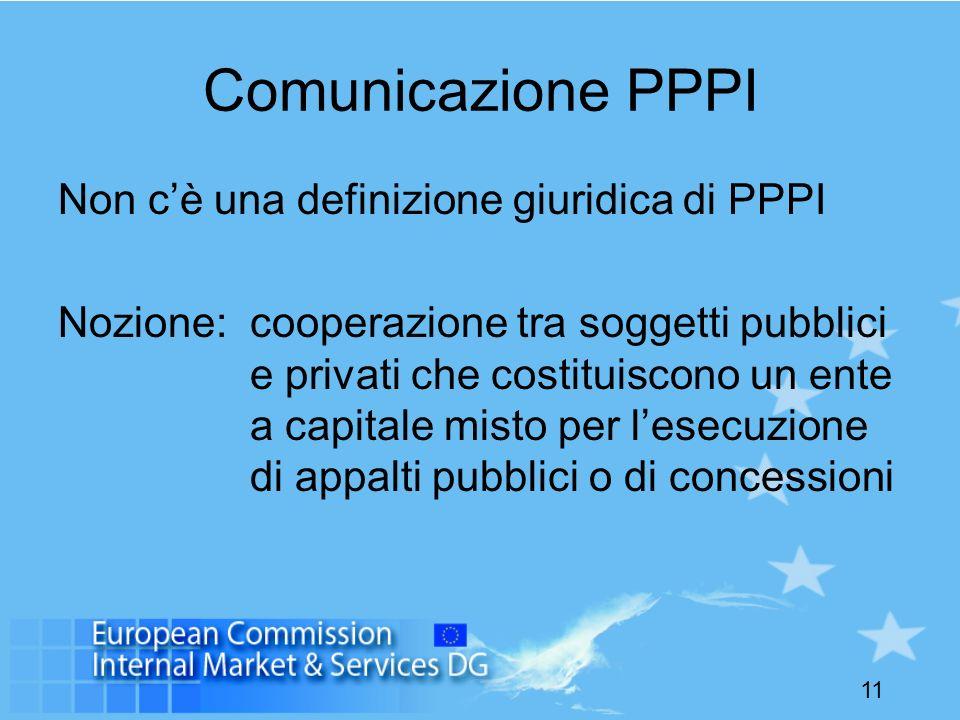 Comunicazione PPPI Non c'è una definizione giuridica di PPPI