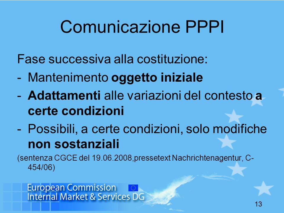 Comunicazione PPPI Fase successiva alla costituzione: