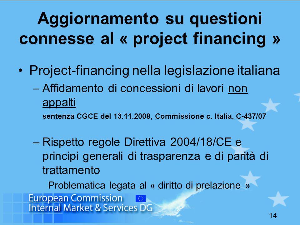 Aggiornamento su questioni connesse al « project financing »
