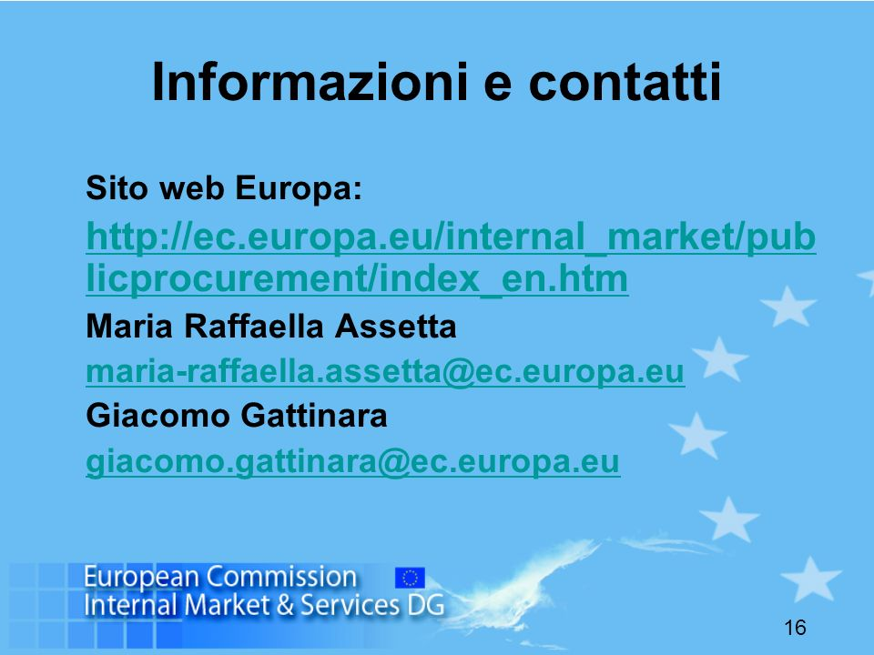 Informazioni e contatti