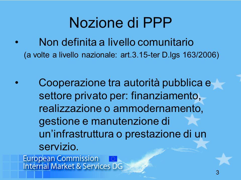 Nozione di PPP Non definita a livello comunitario