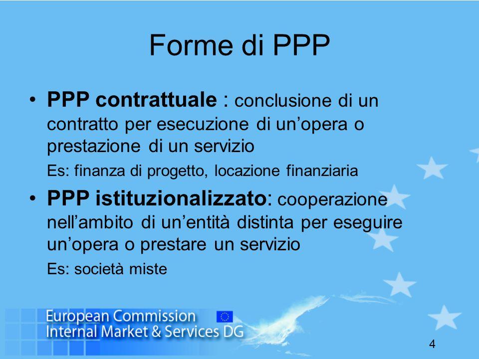 Forme di PPP PPP contrattuale : conclusione di un contratto per esecuzione di un'opera o prestazione di un servizio.