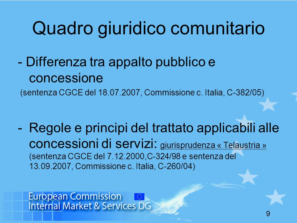 Quadro giuridico comunitario