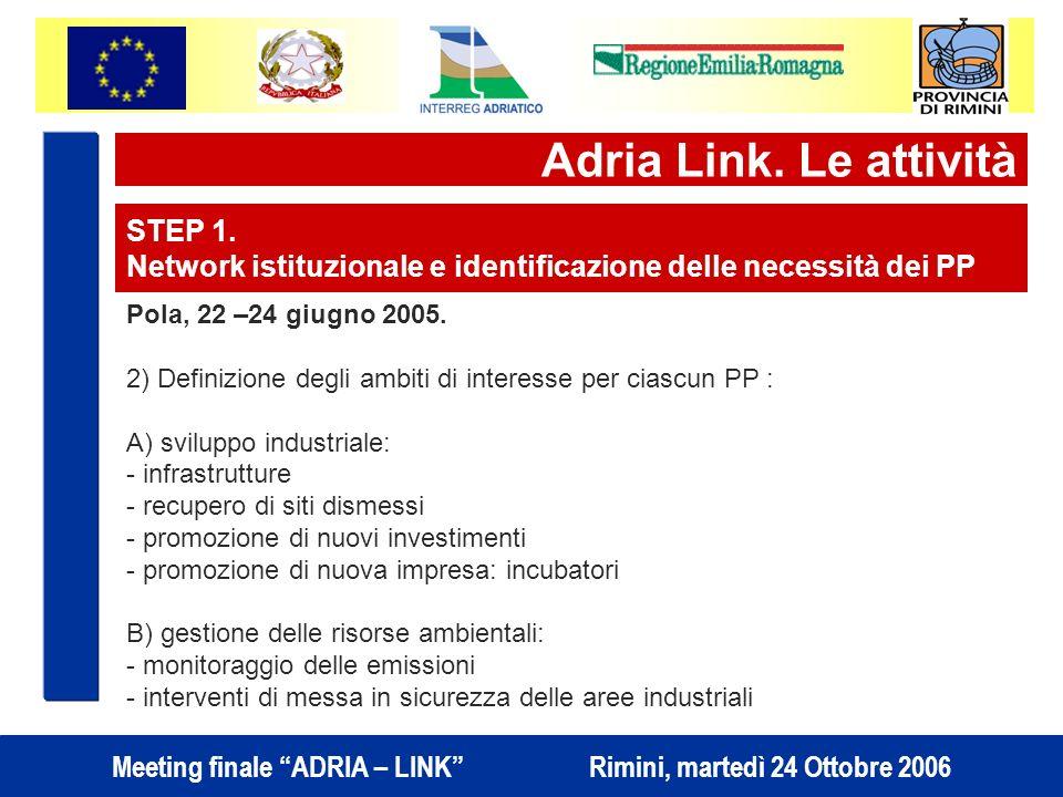 Adria Link. Le attività STEP 1.