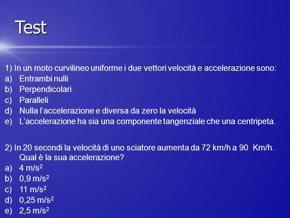 Test 1) In un moto curvilineo uniforme i due vettori velocità e accelerazione sono: Entrambi nulli.