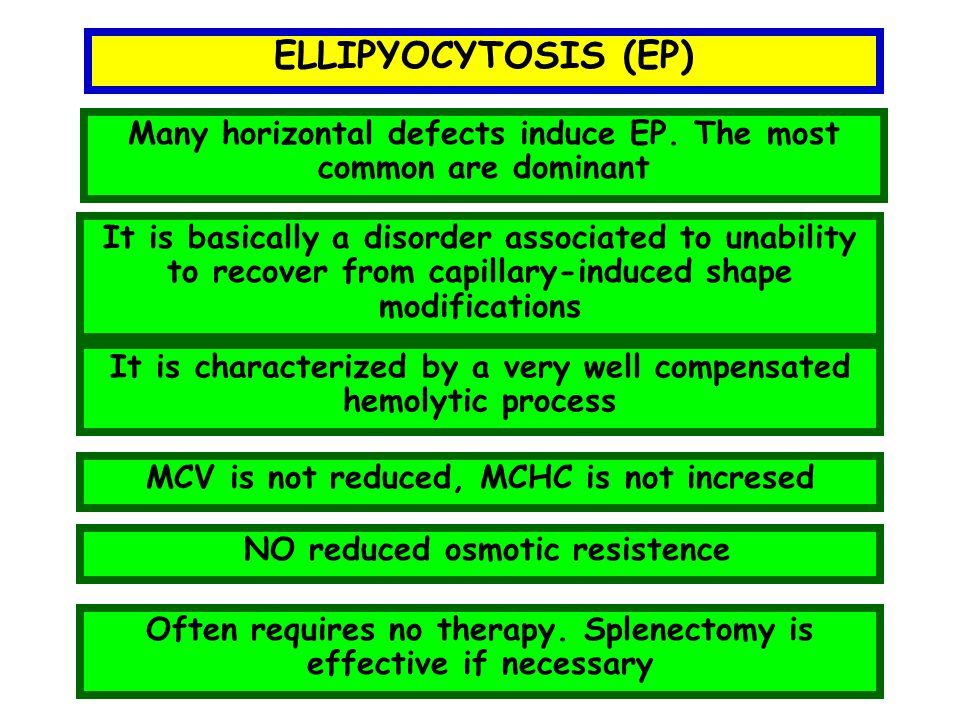 ELLIPYOCYTOSIS (EP) Many horizontal defects induce EP. The most common are dominant.
