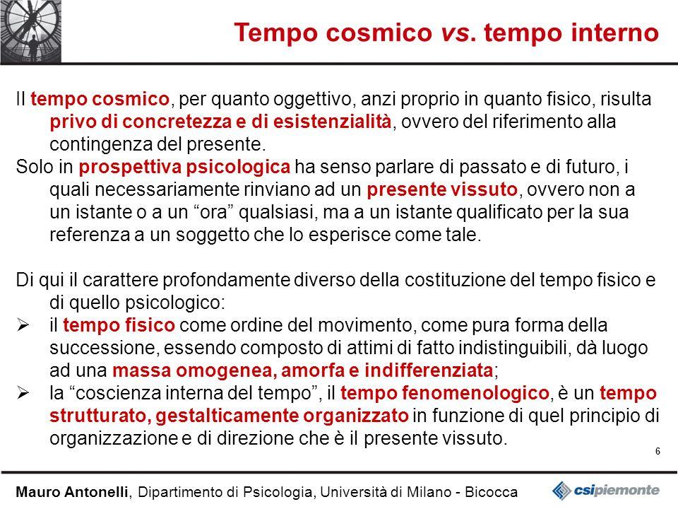 Tempo cosmico vs. tempo interno