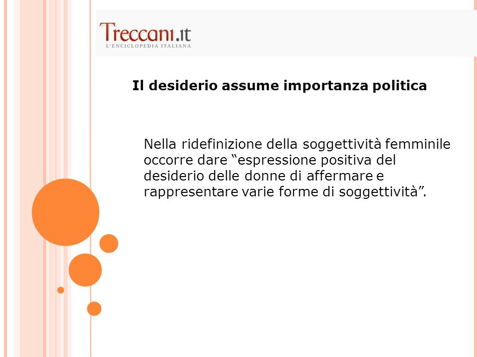 Il desiderio assume importanza politica