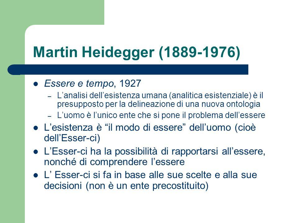 Martin Heidegger (1889-1976) Essere e tempo, 1927