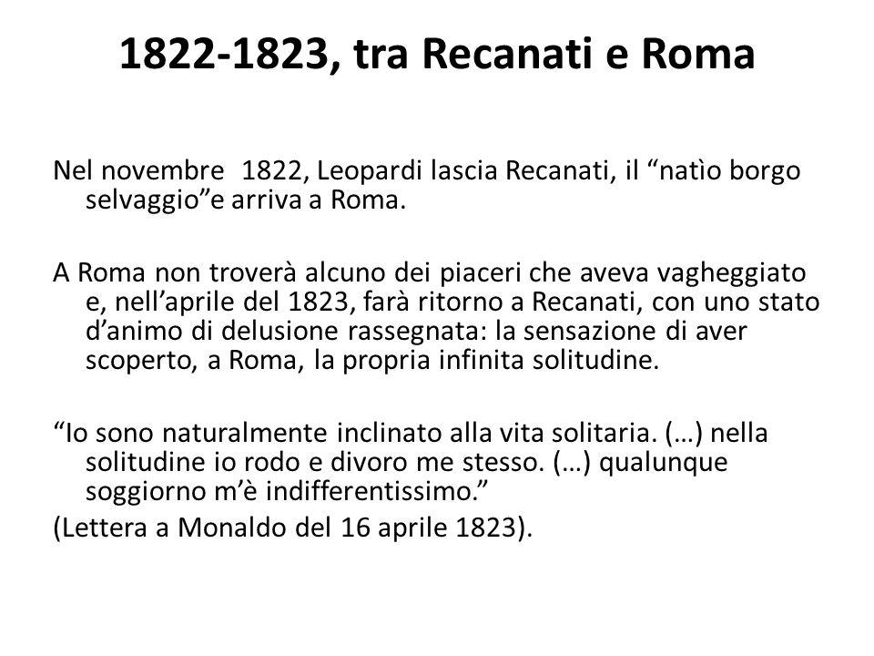 1822-1823, tra Recanati e Roma Nel novembre 1822, Leopardi lascia Recanati, il natìo borgo selvaggio e arriva a Roma.