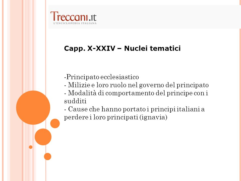Capp. X-XXIV – Nuclei tematici