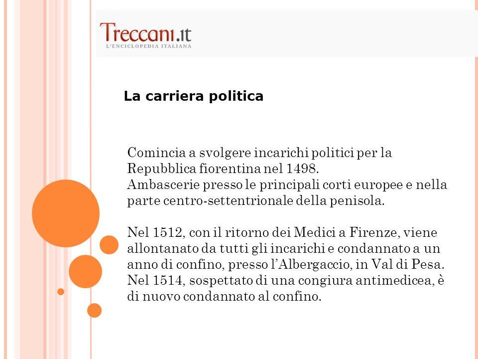 La carriera politica Comincia a svolgere incarichi politici per la Repubblica fiorentina nel 1498.