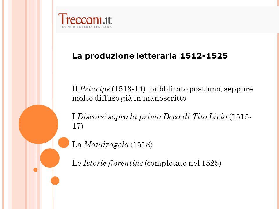 La produzione letteraria 1512-1525
