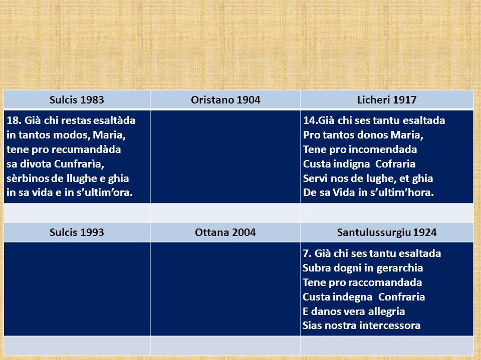 Sulcis 1983 Oristano 1904. Licheri 1917. 18. Già chi restas esaltàda. in tantos modos, Maria, tene pro recumandàda.