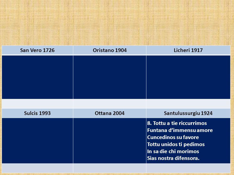 San Vero 1726 Oristano 1904. Licheri 1917. Sulcis 1993. Ottana 2004. Santulussurgiu 1924. 8. Tottu a tie riccurrimos.