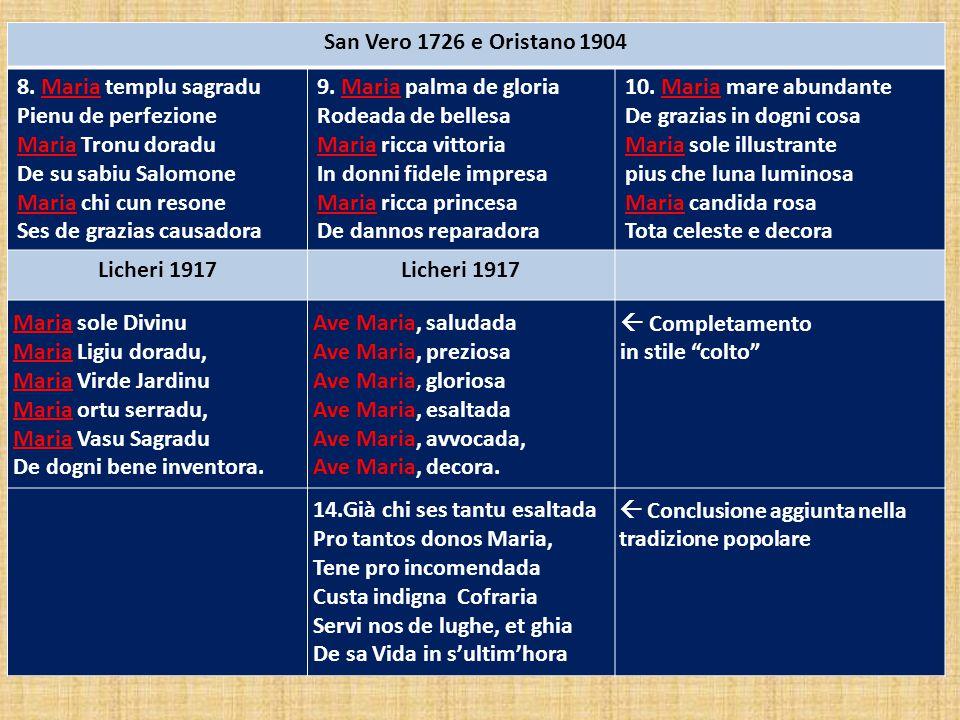 San Vero 1726 e Oristano 1904 8. Maria templu sagradu. Pienu de perfezione. Maria Tronu doradu. De su sabiu Salomone.
