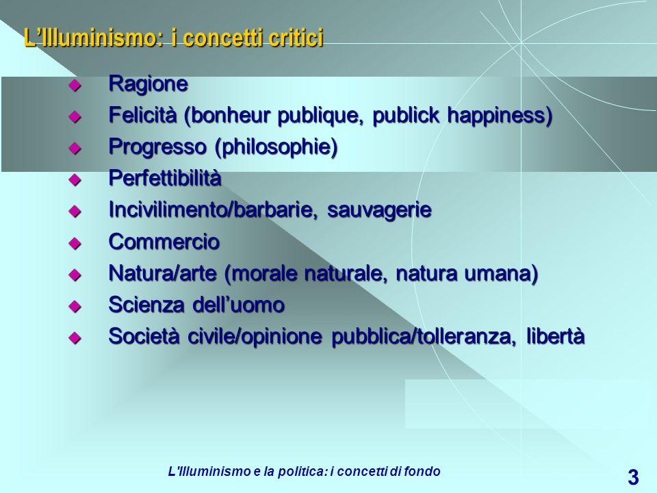 L'Illuminismo: i concetti critici