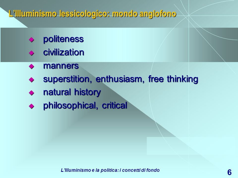 L'Illuminismo lessicologico: mondo anglofono