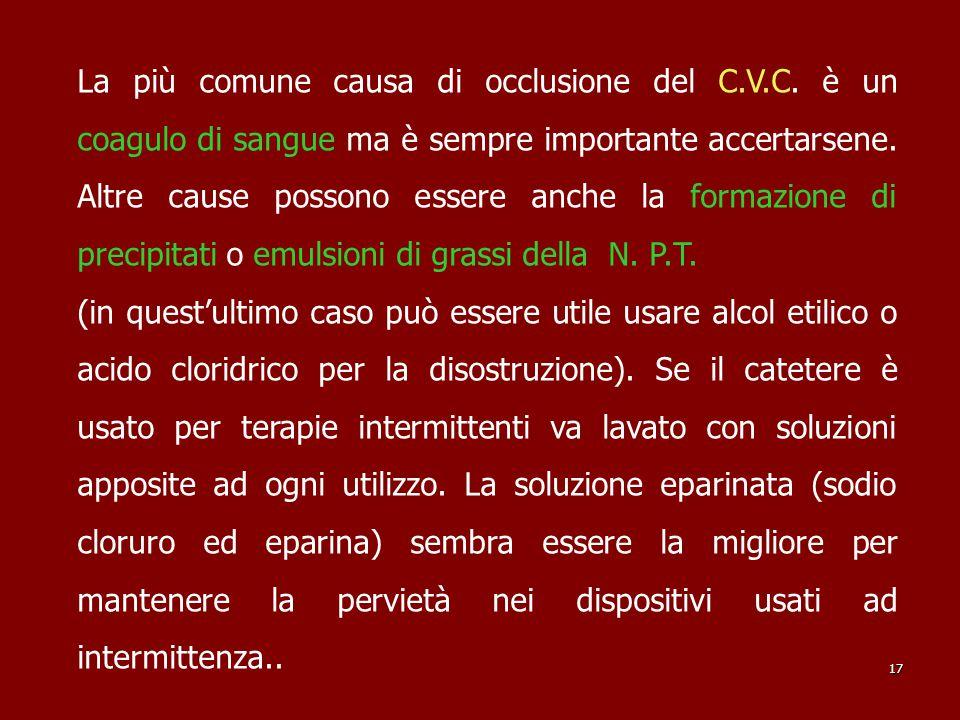 La più comune causa di occlusione del C. V. C
