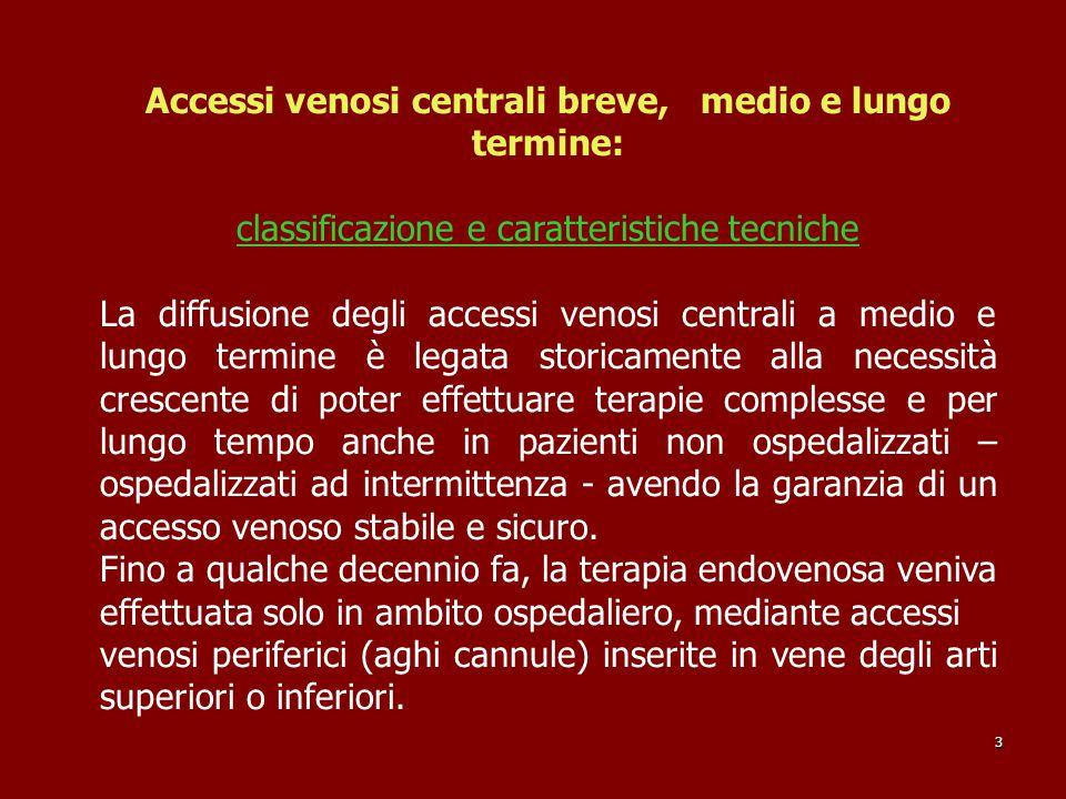 Accessi venosi centrali breve, medio e lungo termine: