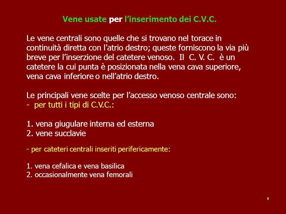 Vene usate per l'inserimento dei C.V.C.