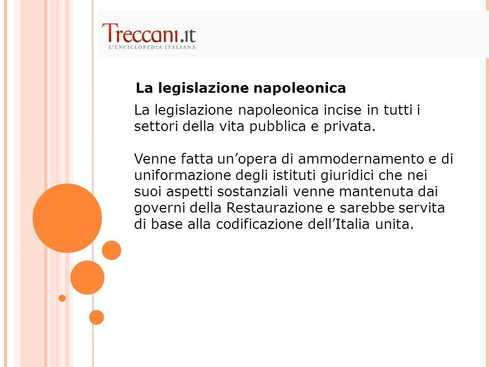 La legislazione napoleonica