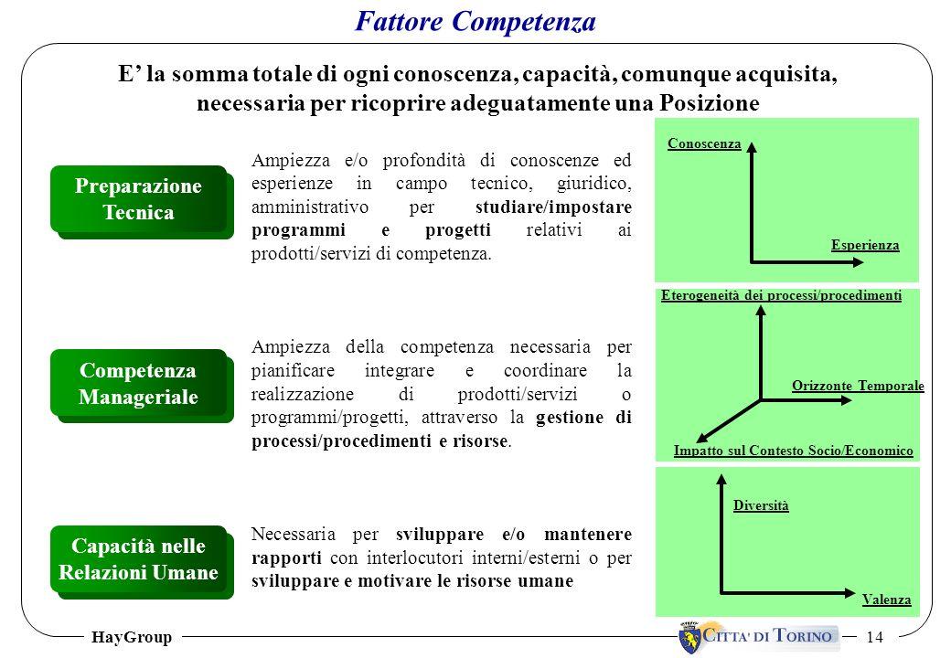 Fattore Competenza E' la somma totale di ogni conoscenza, capacità, comunque acquisita, necessaria per ricoprire adeguatamente una Posizione.