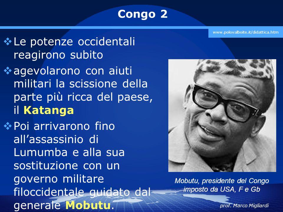 Mobutu, presidente del Congo imposto da USA, F e Gb