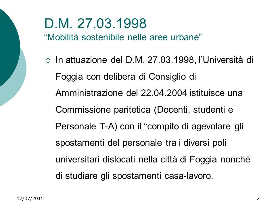 D.M. 27.03.1998 Mobilità sostenibile nelle aree urbane