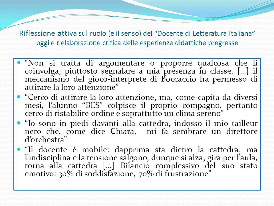 Riflessione attiva sul ruolo (e il senso) del Docente di Letteratura Italiana oggi e rielaborazione critica delle esperienze didattiche pregresse