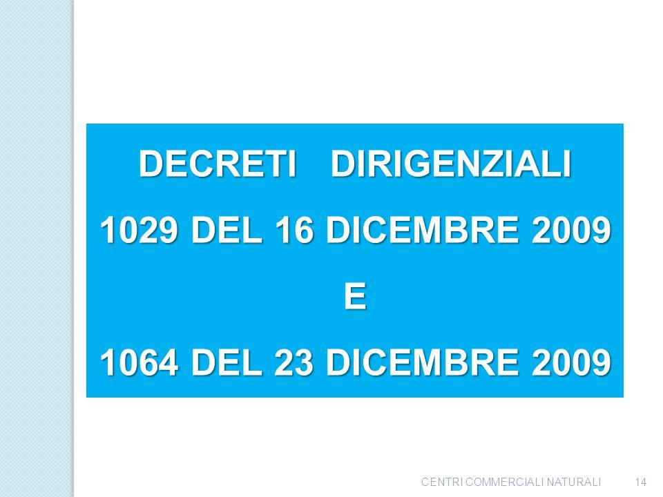 DECRETI DIRIGENZIALI 1029 DEL 16 DICEMBRE 2009 E