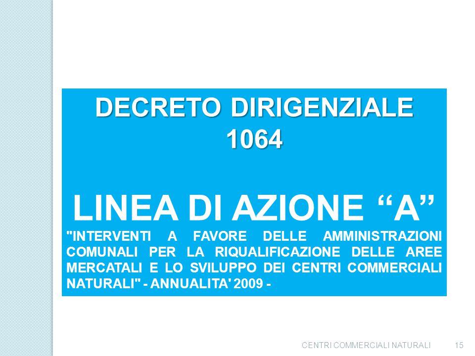 LINEA DI AZIONE A DECRETO DIRIGENZIALE 1064