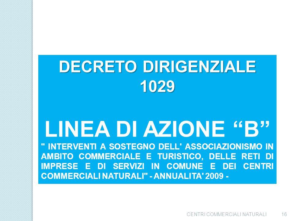 LINEA DI AZIONE B DECRETO DIRIGENZIALE 1029