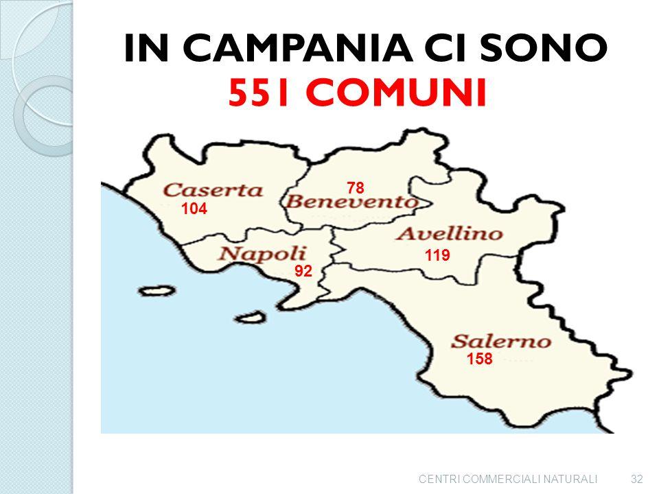551 COMUNI IN CAMPANIA CI SONO 78 104 119 92 158