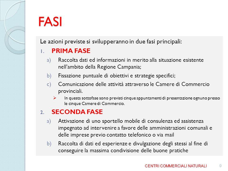 FASI Le azioni previste si svilupperanno in due fasi principali:
