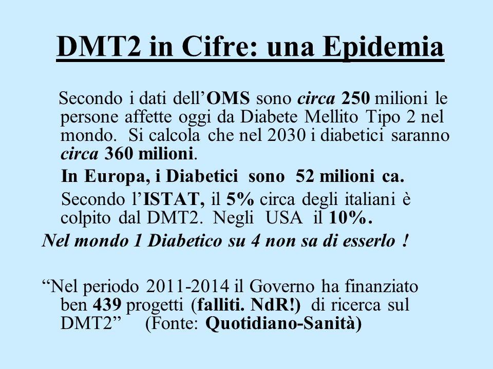 DMT2 in Cifre: una Epidemia