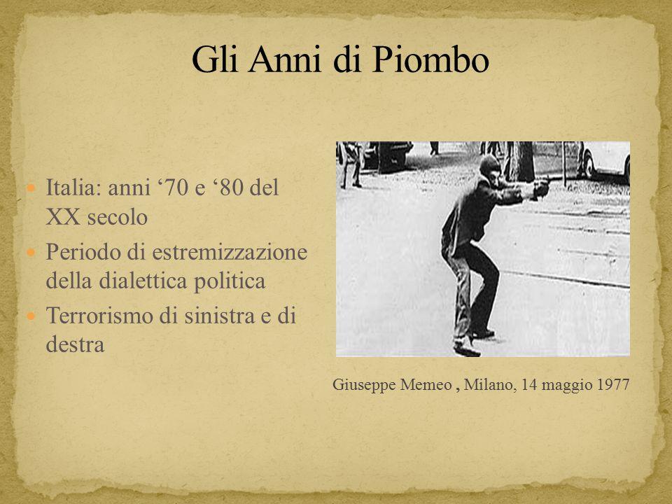 Gli Anni di Piombo Italia: anni '70 e '80 del XX secolo