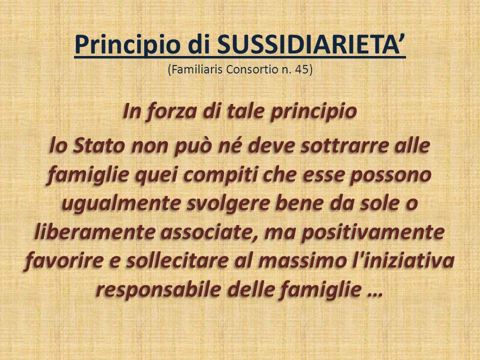 Principio di SUSSIDIARIETA' (Familiaris Consortio n. 45)