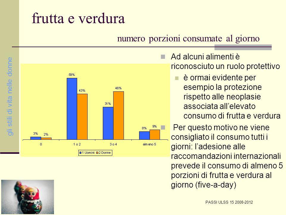 frutta e verdura numero porzioni consumate al giorno